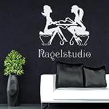 Vinyl Wandtattoo Maniküre Nagel Frau Mädchen Nagelstudio Kosmetiksalon Friseursalon Schönheitssalon Innendekor Kunst Wandaufkleber Wandsticker Wanddekoration...