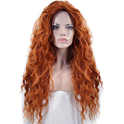 ZYC1 Haarkappe + Freies Teil Lange Tiefe Welle Orange Hochtemperaturfaser Brave Merida Synthetische Cosplay Perücke Für Halloween (Für Merida Frauen Kostüm)