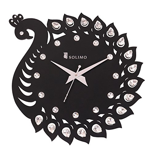 Amazon Brand - Solimo 11.25-inch Wooden Wall Clock - Elegant Peacock (Silent...