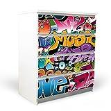 banjado YOURDEA Möbelfolie für IKEA Malm Kommode mit 4 Schubladen | Klebefolie 4-teilig ca. 80x100cm | Möbelsticker Selbstklebend mit Motiv Graffiti
