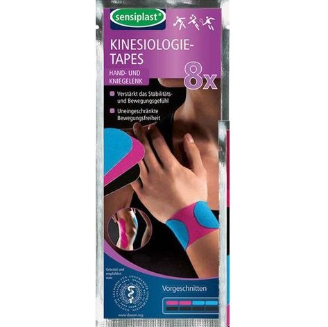 SENSIPLAST® Kinesiologie-Tapes - Hand- und Kniegelenk - 8 teilig, vorgeschnitten┇Verstärkt das Stabilitäts- und Bewegungsgefühl - Uneingeschränkte Bewegungsfreiheit