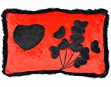 Chords Unique Red & Black Throw Pillow With 10 Mini Hearts Bouquet Gift For Girlfriend 43CM