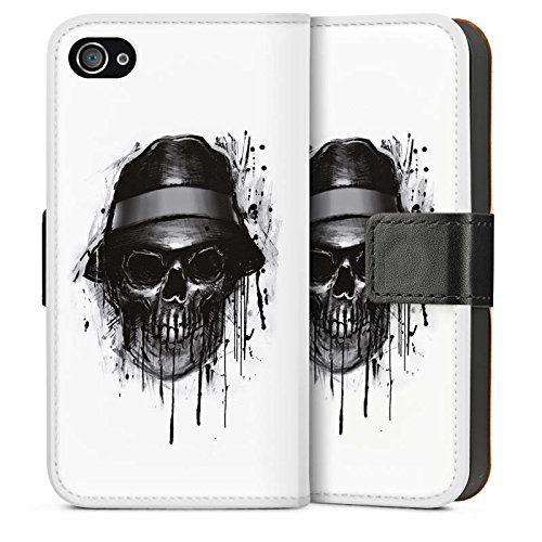 Apple iPhone 5 Housse Étui Silicone Coque Protection Tête de mort Chapeau Crâne Sideflip Sac