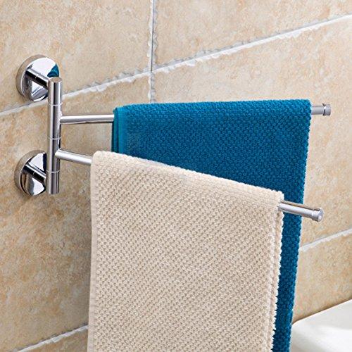 Vacuum Screw Porta Asciugamani da Muro Cromato Porta Asciugamani Bagno Da Parete Muro Ottone Acciaio Inossidabile Per Bagno Doccia (35*13.7cm)