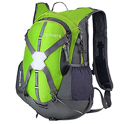 28L Hiking Backpack Cycling Rucksack ISIYINER Casual Daypack Reflective Hydration Bladder Packs Waterproof Nylon Men Women Shoulders Bag with Helmet Strap for Biking Runing Camping Travelling (Water Bladder,Helmet Not Include) from ISIYINER