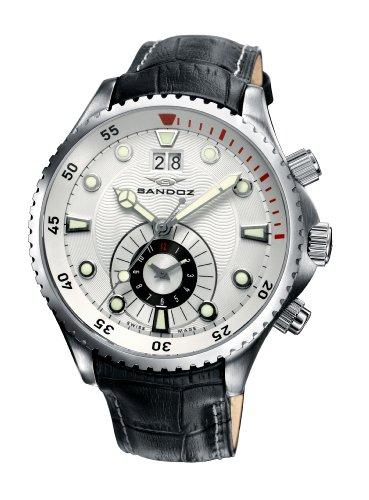 Sandoz - 72587-00 - Montre Homme - Quartz - Analogique - Bracelet Cuir Noir