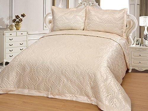 Tagesdecke Bettüberwurf Steppdecke Decke Sofaüberwurf Überwurf Set - hochwertige Bettdecke für Doppelbett Schlafzimmer Gefüttert Gesteppt 250x260cm mit 2 Kissenbezügen - Ecru Naturfarbe Pflegeleicht Diamant (Bettdecke Bettüberwurf Set)