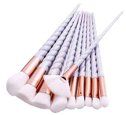 HENGSONG 10pcs Unicorn Make Up Brushes Set For Foundation Eyebrow Eyeliner Blush Cosmetic Concealer (White)