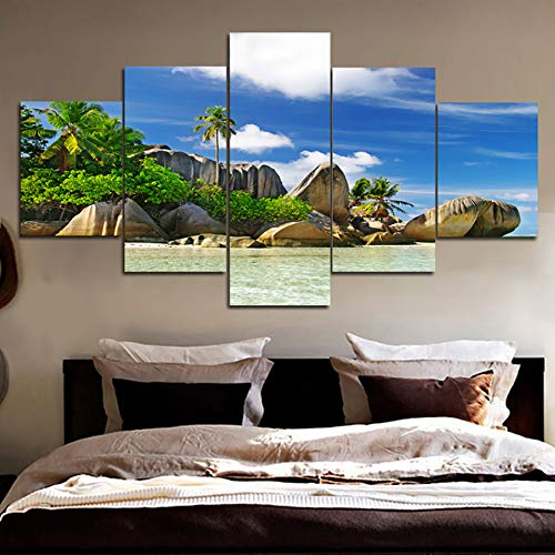 Art Home Decor Modern HD Printed Canvas 5 Panel Blue Sky Sea Rock Landscape  Wall Painting Poster For Living Room Pictures,size