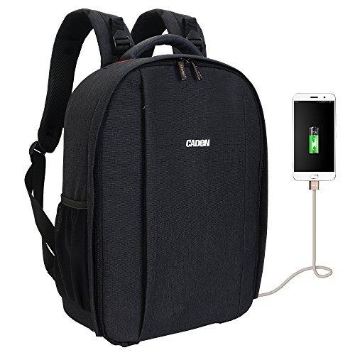 Profi DSLR Kamera Rucksack Tasche mit USB Ladeanschluss und Regen Cover für Sony Canon Nikon Olympus Objektiv Stativ und Zubehör