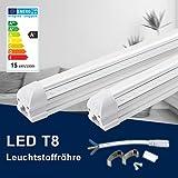 90CM LED Leuchtstoffröhre komplett-Set, Leuchtstofflampe mit G13-Fassung, 15W 4000K Naturweiß 1500 Lumen 24Watt-Ersatz, Deckenleuchte Unterbauleuchte Schranklicht, Montagefertig, Aufklebar, klar
