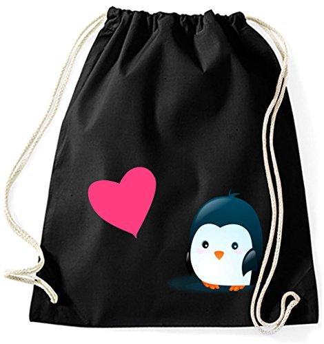 Mein Zwergenland Jutebeutel Pinguin mit pinkem Herz, 12 L, Lila, Motiv 98 Schwarz