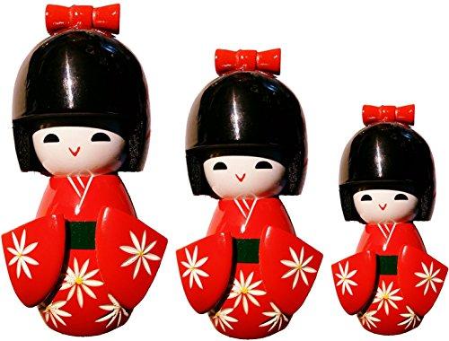 Deko Zen & Feng Shui japanische Puppe Kokeshi, Rot