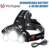 Victoper Wesho Rechargeable Headlight with 3 Lights 4 Modes, 6000 Lumen Super Bright LED Lamp, Hands-Free Flashlight Head Torch for Running, Camping, Fishing, Cycling, Hiking, Waterproof