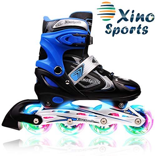 XinoSports Patines Ajustables Grandes - 5-8 Negro/Azul