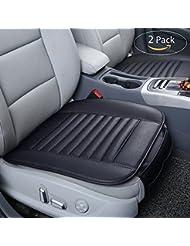 Universal Auto Sitzauflagen PU Leder Kissen 2 Stück, Oziral Breathable Bambuskohle Sitzkissen Eisseide Auto Vordersitz Kissen
