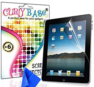 CurlyBase Apple iPad 1 Clear Screen Protector Guard / Film / Cover + Cleaning Cloth (Pack of 6)