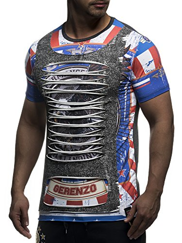 David Gerenzo Herren T-Shirt Oversize Aufdruck Zerrissen 2in1 Shirt 1-10386 Anthrazit