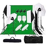 Grandekor Fotostudio Hintergrund Greenscreen Set Dauerlicht Softbox LED Studioleuchte Studiosets LED Fotolampe Weiß Fotoschirm 2 * 3m Hintergrundsystem 4 Hintergrundstoffen Tasche