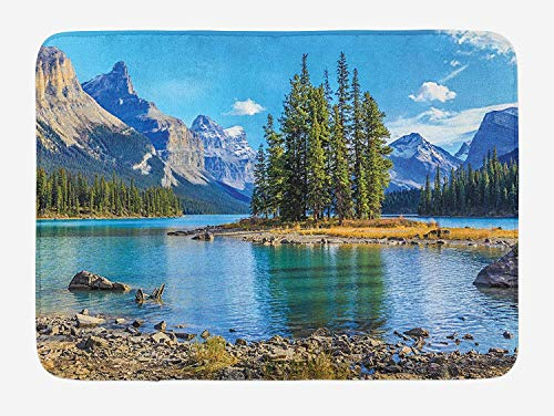 Mountain Bath Mat, Scenery of Spirit Island and Maligne Lake Canada in Summer Mountains, Plush Bathroom Decor Mat with Non Slip Backing, 23.6 W X 15.7 W Inches, Pale Blue Green Tan -