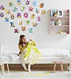 Kath & Cath Sticker Mural pour Enfant Motif Lettres ABC Motif Animal Nature Aquarelle