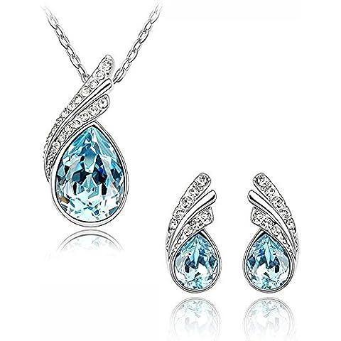 Celebrity Jewellery agua en forma de gota Pendientes de cristal de vidrio y collar de regalo para su San