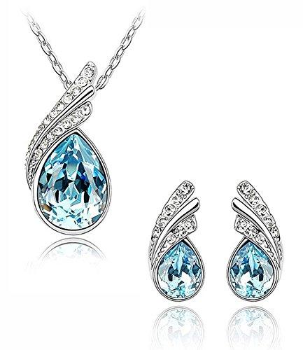 Celebrity Jewellery Bleu Goutte d'eau Baisse Autrichien Cristal boucles d'oreille and Collier Bijoux Parures Femme Bijoux