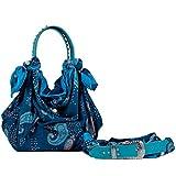 6Glam by EllyLa Civetta Borsa misto seta fantasia blu con cintura abbinata made in Italy