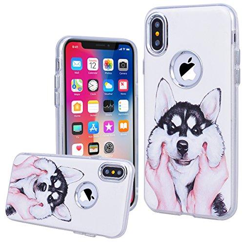 WE LOVE CASE iPhone X Hülle Hund iPhone X / 10 Hülle Silikon Weich Weiß Handyhülle Tasche für Mädchen Elegant Backcover , Soft TPU Flexibel Case Handycover Stoßfest Bumper , Ultra Dünn Schale Schlank  Dog