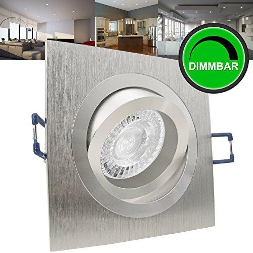 10er Set (10-12er Sets) Einbaustrahler NOBLE 1 Aluminium; 230V GU10; SMD LED 7,5W = 70W; DIMMBAR; Warm-Weiß; schwenkbar; drehbar; Einbauleuchte Einbauspot Downlight
