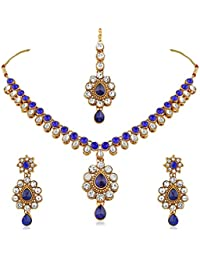 Rich Lady Alluring Design Blue Stone & Kundan Gold Finishing Necklace Set With Maang Tikaa