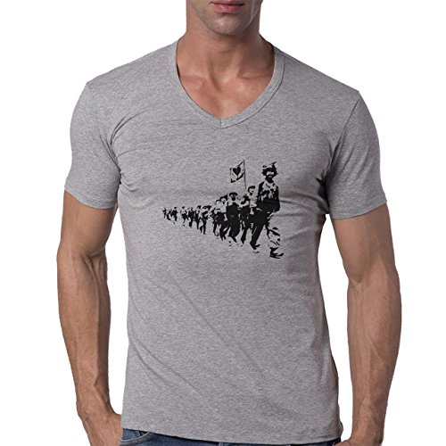 Love Terrorists Street Art Herren V-Neck T-Shirt Grau