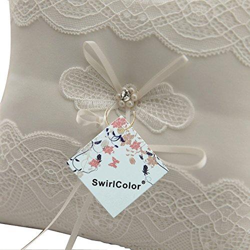 Cuscino per anelli Cuscino bianco per matrimonio (Farfalla) - 6