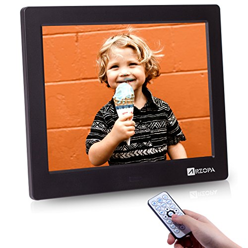 Arzopa 8 inch Digital Frame, High Resolution Digital Picture Frame Support MP3 MP4 Photo and Video Player Electronic Clock and Calendar Function with Remote Control (Black)