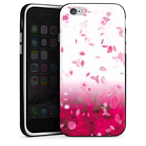 Apple iPhone 5s Housse étui coque protection pink Rose vif Pétales Housse en silicone noir / blanc