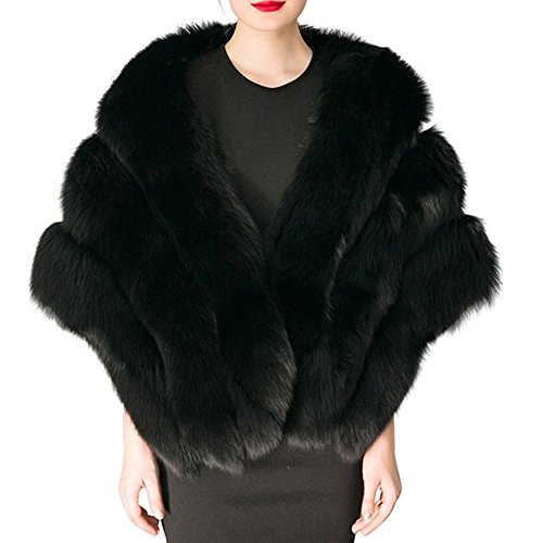 Pelz Braut Schals Jacke Stolen Frauen verdicken Faux Pelz Wrap Schals Shrug Warm Poncho für Winter Brautkleid ()