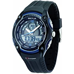 Sector Men's Digital Watch with LCD Dial Digital Display and Black PU Strap R3251574003