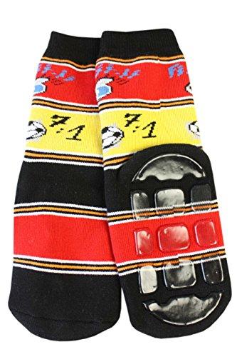 Weri Spezials Unisexe Bebes et Enfants ABS Eponge 7:1 Fan de Chaussettes Pantoufle Chaussons Antiderapants Noir/Rouge/Or Noir/Rouge/Or
