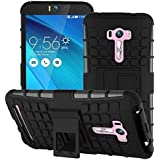 Trifty Defender Tough Hybird Armour Shockproof Hard PC + TPU With Kick Stand Rugged Back Case Cover For Asus Zenfone Selfie - Black