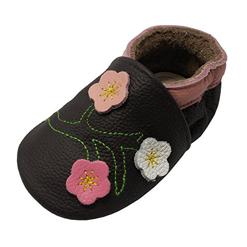Yalion Baby Mädchen Weiches Leder Lederpuschen Kleinkinder Krabbelschuhe mit süßen Blumen Dunkelbraun,12-18 Monate
