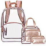 NiceEbag 6 in 1 Kulturtasche & Kultur Rucksack klares PVC Make up Backpack Gepäck Kulturbeutel Reise Kosmetikbeutel Transparent Kosmetiktasche & Schmink Tasche für Damen und Herren,Roségold