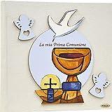 Fabula Prima Comunione - Album Portafoto formato 30x30 Calice Cielo - Copertina Rigida 186 Panna con applicazioni in Legno - Cod. 160045