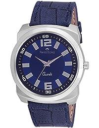 Swisstone Blue Dial Blue Leather Strap Analog Watch For Men/Boys- ST-GR017-DRK-BLU