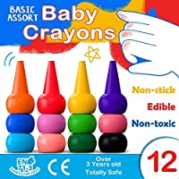 MUSCCCM Toddlers Finger Crayons 12 Colors Paint Crayons Washable Palm-Grip Crayon Set Stackable for Kids,Toddlers,Children,Boys and Girls Gift