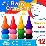 MUSCCCM Toddlers Finger Crayons 12 Colors Paint Crayons Washable Palm-Grip Crayon Set Stackable for Kids, Toddlers, Children, Boys and Girls Gift