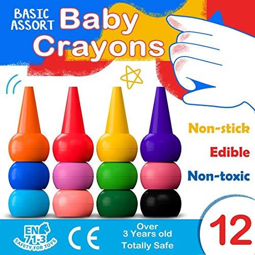 (Muscccm Kleinkinder Wachsmalstifte Handflächengriff Wachsmalstifte, 12 Farben Zeichenstift Wachsmalstifte Stapelbares Spielzeug für Kinder, Kleinkinder und Kinder, Sicher)