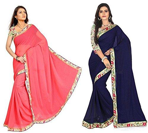 Aashi Saree Exclusive Combo Of Plain Chiffon Lacy Border Sarees (Peach & Navy Blue)