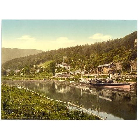 Vittoriano Vista di Piroscafo Molo, trefriew (Trefriw), Galles, Large A3misura 41by 28cm Tela ruvida carta fine art stampa fotografica