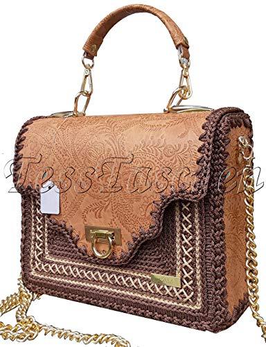Damen Klassische Umhängetasche Cognac Handtasche mit Kette Braune Aktentasche mit Prägung auf dem Leder und Stickerei Exklusive designer gestrickte Tasche mit Muster -