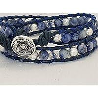 Wickelarmband 2- fach blauer Jaspis & Edelstahl Perlen, Stardust, Facettenperlen klar, Lederband, Quaste